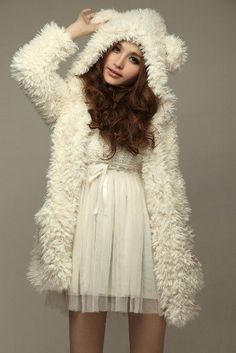 Hot Sale New Arrival Warm Lovely Bear Patterned Woolen Pure Color Hooded Coat Free Shipping White on AliExpress.com. $26.86