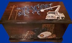 Custom Power Lineman theme Toy Box, Personlized wooden chest, Kids furniture, on Etsy, $289.00
