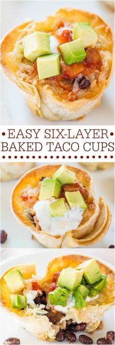 Easy Six-Layer Baked Taco Cups – Fast, easy, and accidentally healthy! Your favo… Easy Six-Layer Baked Taco Cups – Fast, easy, and accidentally healthy! Your favorite taco fixings in individually-portioned cups! So fun! I Love Food, Good Food, Yummy Food, Appetizer Recipes, Dinner Recipes, Appetizers, Cooking Recipes, Healthy Recipes, Mexican Food Recipes
