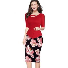66572192953 Veekle Women Summer Autumn Casual Bodycon Party Floral Print Red Pink  Peplum Pencil Office Dress Work Long Sleeve Plus Size 5Xl