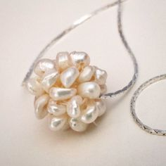 ON SALES: Pearls Cluster Pendant Necklace. Silver tone.