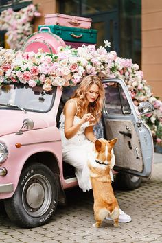 Car Girls, All Things, Pink, Pink Hair, Roses