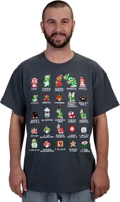 Cast of Super #Mario Bros. T-shirt ($20) from 80sTees
