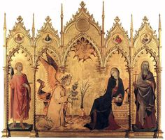 Simone Martini and Lippo Memmi: Picture of Annunciation and Two Saints. - Uffizi Gallery, Florence I am completely fascinated by this painting; tempera on wood, gold gold gold! Seeing it in person was so cool, to look at the details up close. Giorgio Vasari, Italian Renaissance Art, Renaissance Kunst, Medieval Art, Martini, Caravaggio, Galerie Des Offices, Siena Cathedral, Italian Paintings