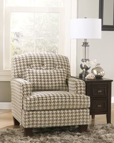 ... Ashley Donella Barley/ Herb Houndstooth Print Fabric Accent Chair    Overstock™ Shopping   Great Deals On Signature Design By Ashley Living Room  Chairs