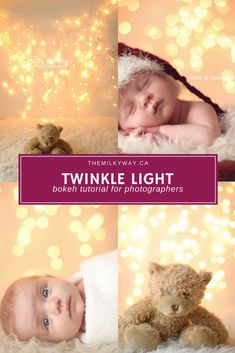 Twinkle Light Bokeh Tutorial for photographers. This tutorial will show newborn photographers, family photographers and product photographers how to achieve the twinkle light bokeh look for their photoshoots. Learn how to create this beautiful backdrop photography background for your next photo shoot. #newbornphotography #maternityphotography #photography #photoshoot #photoeffects