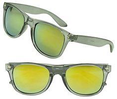 5fd591ef2c3 Amazon.com  Transparent Grey Horned Rim Classic Round Colorful Revo  Mirrored Sunglasses (2-Pack (Transparent Grey)
