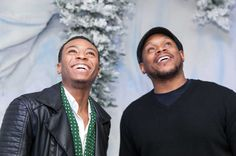 Motown Records singer/songwriter Kevin Ross and TV and radio personality Sway Calloway connect during a private listening party at the Glade® Boutique on December 10 in New York City.