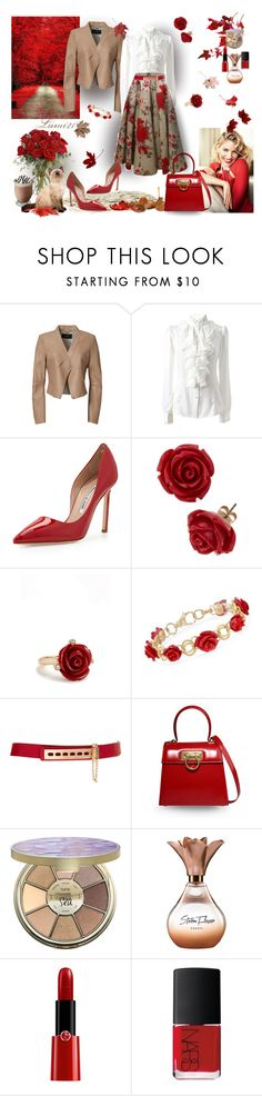 """autumn"" by lumi-21 ❤ liked on Polyvore featuring BCBGMAXAZRIA, Manolo Blahnik, Oscar de la Renta, Ross-Simons, ASOS, Salvatore Ferragamo, tarte, Armani Beauty and NARS Cosmetics"