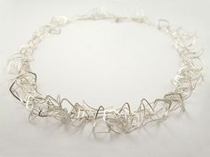 Silver feathered necklace