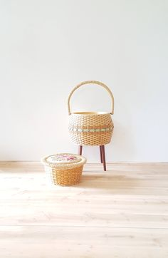 Your place to buy and sell all things handmade Sewing Baskets, Gold Fabric, Home Organization, Rattan, Needlepoint, Storage Spaces, How To Remove, Mid Century, Legs