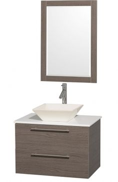 """Wyndham Collection WC-R4100-30-GO-WHD28BN Amare 30"""" Single Sink Bathroom Vanity with  White Man-Made Stone Top and Bone Porcelain Vessel Sink in"""