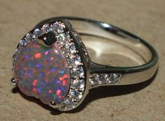 fire opal Cz ring gemstone silver jewelry Sz 6.5 modern cocktail Heart design LE #Cocktail