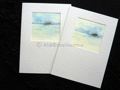 Original watercolour seascape painting handmade art cards