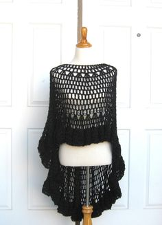CROCHET BLACK PONCHO Shawl Victorian Circle Vest  by marianavail, $87.00