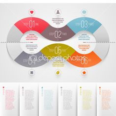 Infographics design template - abstract numbered color paper waves shapes — Stock Illustration #22778226
