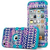 ULAK 3 in 1 Shield Series Hybrid Case for Apple iPod Touch 6 & 5 - Reverie/Blue