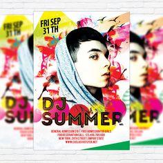 Dj Summer - Premium Flyer Template + Facebook Cover http://exclusiveflyer.net/product/dj-summer-premium-flyer-template-facebook-cover/