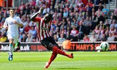 Sadio Mané scores his third goal for Southampton against Aston Villa in the Premier League