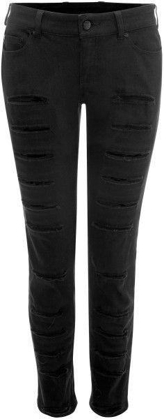 Slashed Skinny Jeans - Lyst