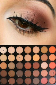 Brown eyeshadow looks, makeup for brown eyes, natural eyeshadow palette, ey Brown Eyeshadow Tutorial, Eyeshadow Tips, Eyeshadow Palette, Morphe Palette, Morphe 350 Palette Looks, Orange Eyeshadow, Natural Eyeshadow Tutorials, Colorful Eyeshadow, Eye Shadow Tutorial