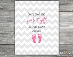 """Baby Christian Scripture Nursery Customizable by JustLovePrints, $12.50 """"Every good and perfect gift is from above."""" James 1:17 #baby #nursery #babyfeet #Christian #Baptism"""