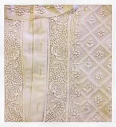 Hand made Chikan embroidered kurta ~ from Aysa Store Indian Embroidery, Hand Embroidery Patterns, White Embroidery, Embroidery Stitches, Crazy Quilting, Mens Kurta Designs, Off White Mens, Brocade Fabric, Embroidery Techniques