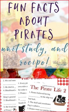 Stumped on what to teach kids about pirates? I am sharing some fun facts about all things pirate! Also, I have a tasty pirate treasure chest recipe & unit study Pirate Facts For Kids, Pirate Kids, Pirate Day, Pirate Theme, Fun Facts For Kids, Pirate Birthday, Pirate Activities, Learning Activities, Activities For Kids
