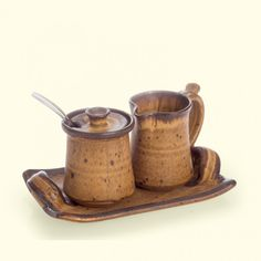 Handmade Pottery 'Bitty' Cream & Sugar Set | Mocha glaze