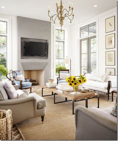 Sofas in multiples.  living room. home decor and interior decorating ideas.