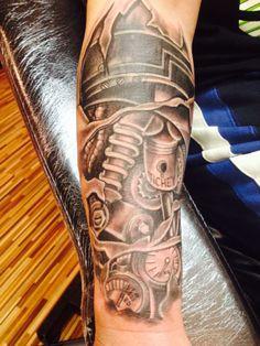 Biomechanical, Modznrockers, Blackpool #tattoo #tattoos #biomech #mechanical #black #grey #freehand #realistic