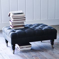 Hand Crafted in England.Upholstered in a beautifully soft-brushed cotton, our generously proportioned Elbert footstool is both elegant and timeless. The beautiful buttoned upholstery stands proudly on delicately turned legs with complimenting brass castors. Style with our Bromley wingback chair for the perfect pairing in your living area or boudoir, a special piece for that special place in your home. The frame of our Elbert Footstool is made from sustainably sourced (FSC) solid Beech or…