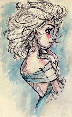 Queen Elsa Sketch Fan Art