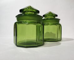 L E Smith Green Glass Canisters, Vintage L.E. Smith 2 Piece Emerald Green  Glass Canister Jar