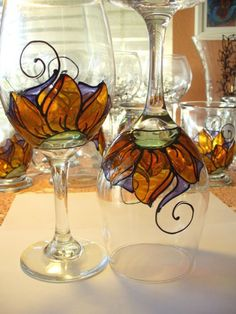 Trippin' Daisy Wine Glasses  Set of 2 by vsilcoxdesigns on Etsy
