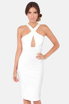 Reception or Bachelorette Party Dress!! Ivory Bodycon Knee Length Dress (dress can be found at LuLus.com)