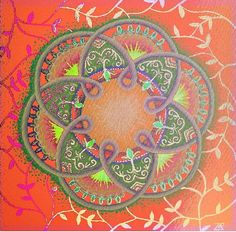 The flourishing of life  through a vision...    Mandala is a meditative and intuitive painting, starts from a point in the center (Bindo) and keep