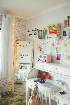 Great room for kids/teens - clearly for a girl, but w/ a few color/decor changes (and nix the mirror - use a simple one that hangs on the door instead), it would be perfect for boys as well