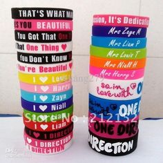 HOT 25pcs I love one direction silicone wristband Silica gel bracelet... ❤ liked on Polyvore