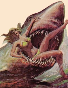 Ideas Dark Art Horror Illustrations For 2019 Arte Horror, Horror Art, Arte Do Pulp Fiction, Shark Illustration, Shark Art, Vintage Horror, Shark Week, Arte Pop, Pulp Art