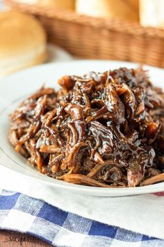 The BEST pulled pork! Slow Cooker Honey Balsamic Pulled Pork with an incredible thick, sweet and tangy honey balsamic sauce! Easy crockpot dinner. VIDEO