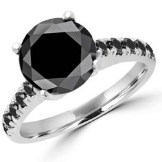 Round Black Diamond Solitaire with Accents Engagement Ring in White Gold with Black Accents Black Diamond Wedding Rings, Black Diamond Necklace, Colored Diamond Rings, Diamond Jewellery, Diamond Shop, Diamond Stores, Wholesale Diamonds, Black Rings, Rings For Men