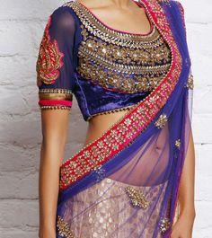 Blue velvet blouse with zardosi work