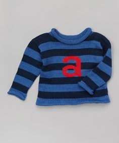 Love this Blue Stripe Initial Sweater - Infant, Toddler & Boys by MJK KNITS on #zulily! #zulilyfinds