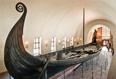 Oseberg, a 9th-century burial ship, at the Viking Ship Museum in Oslo, Norway