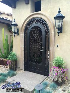 Saxon - Wrought iron arched entryway with scrollwork - Model: EW0479