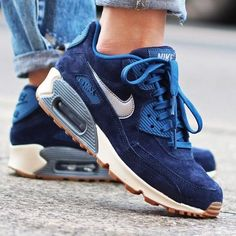 Nike Navy Air Max 90 Sneakers Iconic retro-inspired running and leisure sneaker from Nike. Classic suede.  <3 @benitathediva