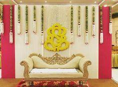 Floral ganesh n tassles for classic backdrop… - Modern Indian Wedding Stage, Wedding Stage Backdrop, Wedding Stage Design, Indian Weddings, Wedding Mandap, Wedding Receptions, Desi Wedding Decor, Wedding Stage Decorations, Backdrop Decorations