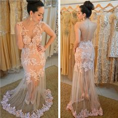 Charming Prom Dress,Long Prom Dress,Lace Evening Dress,Evening Gown