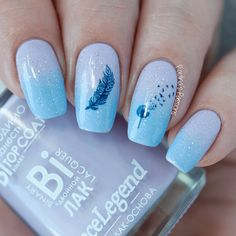 34 Perfect Summer Ocean Nail Art Design Ideas - The most beautiful nail designs Feather Nail Designs, Feather Nail Art, Short Nail Designs, Toe Nail Designs, Acrylic Nail Designs, Dandelion Nail Art, Unique Nail Designs, Pretty Nail Art, Cute Nail Art